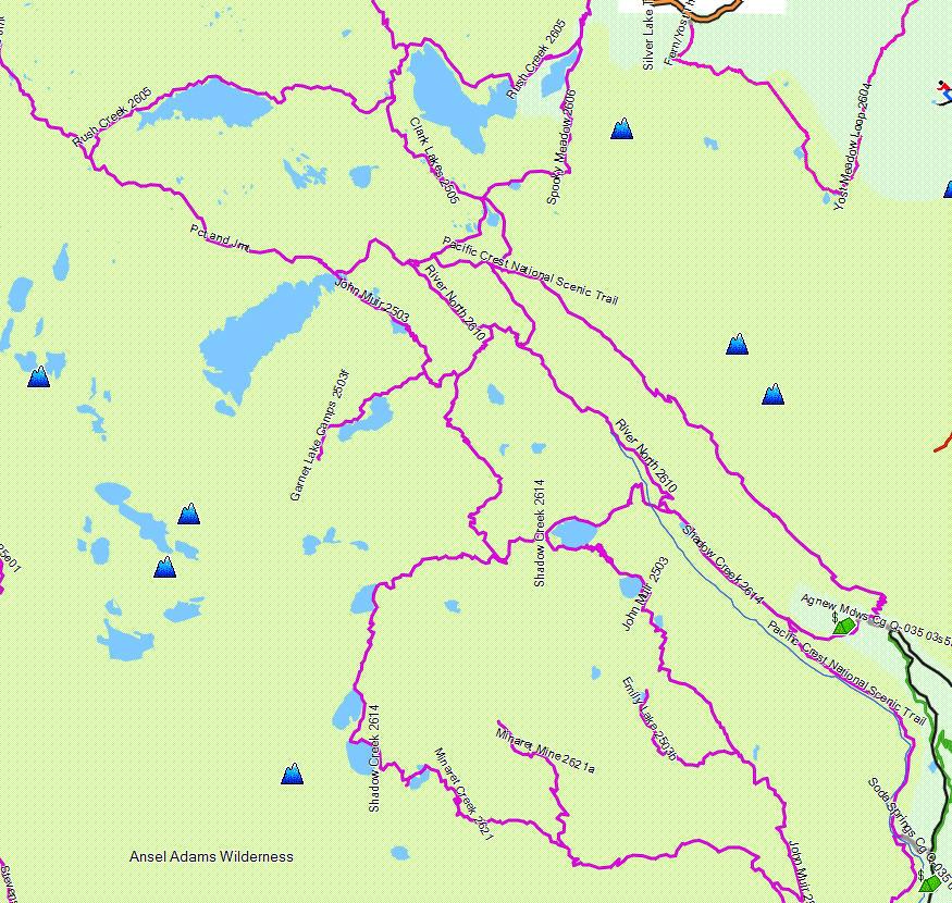 Ansel Adams Wilderness California Trail Map