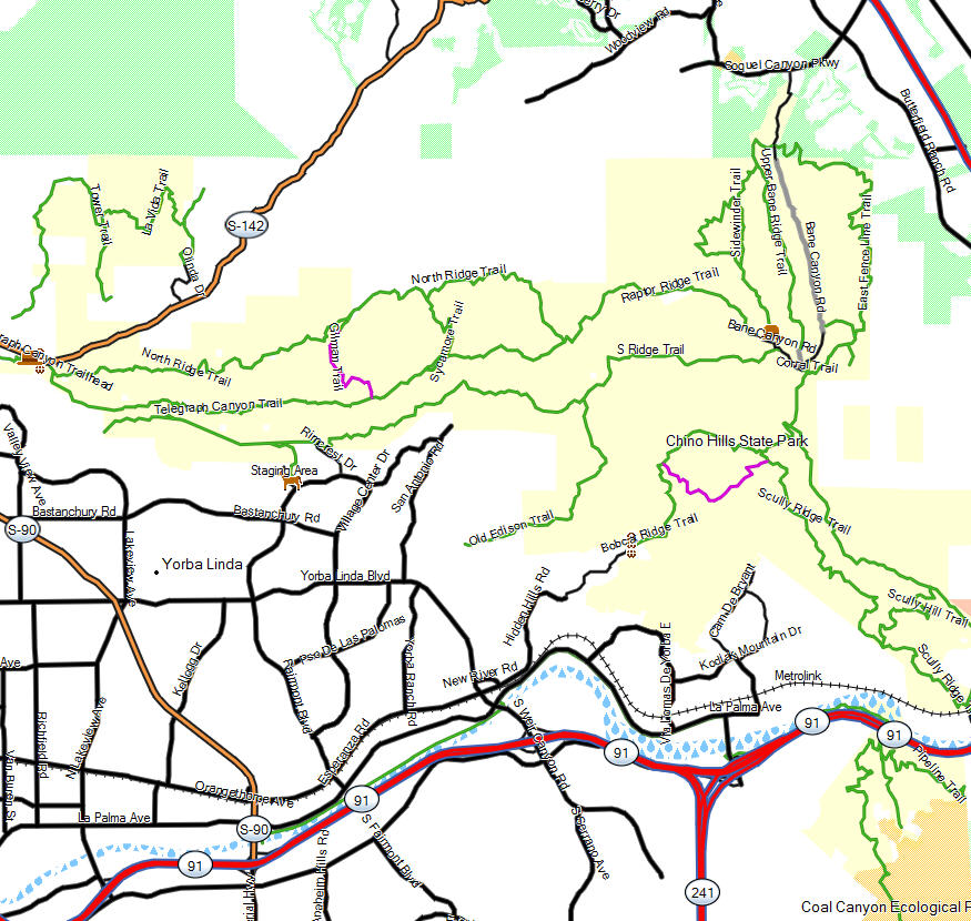 Chino Hills SP - California Trail Map on