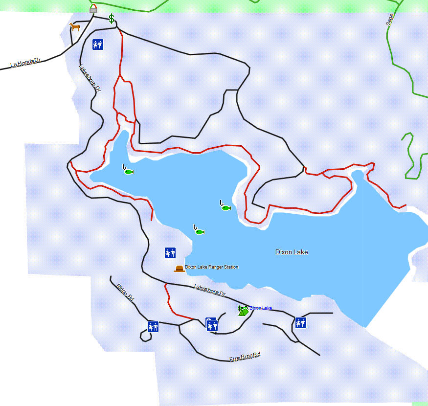 Dixon lake california trail map for California fishing license fee