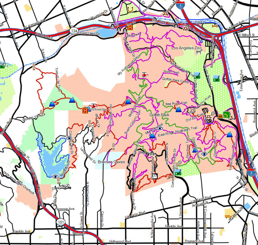 Griffith Park California Trail Map