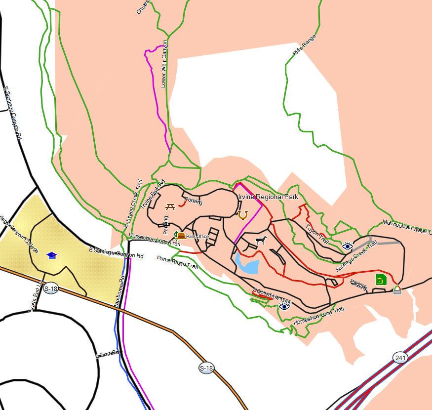 Irvine Regional Park California Trail Map