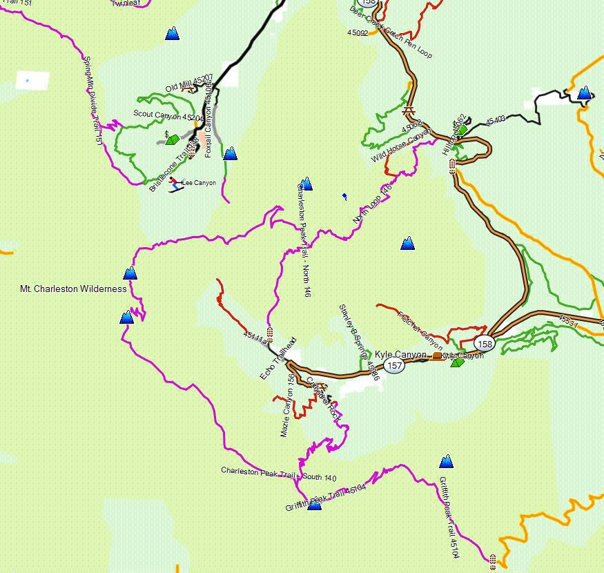 Mt Charleston Wilderness  California Trail Map