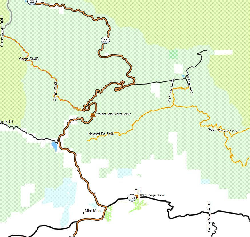 Los Padres NF, Ojai - California Trail Map