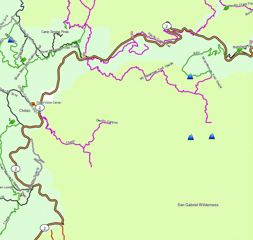 San Gabriel Wilderness California Trail Map