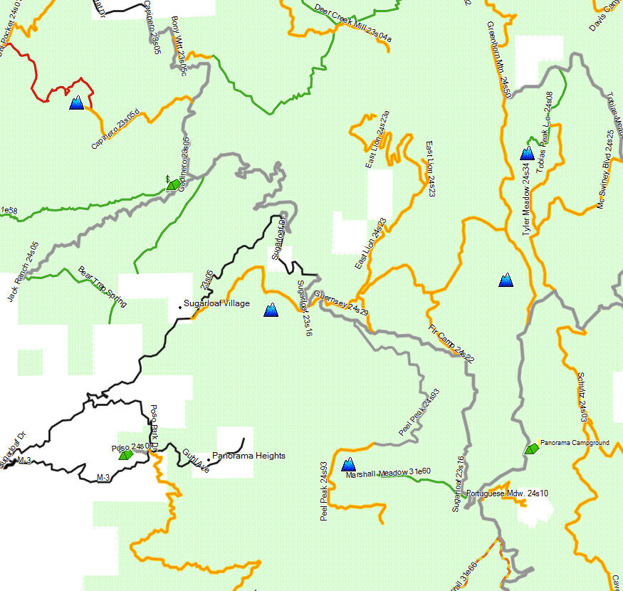Sequoia NF, Western Divide - California Trail Map on