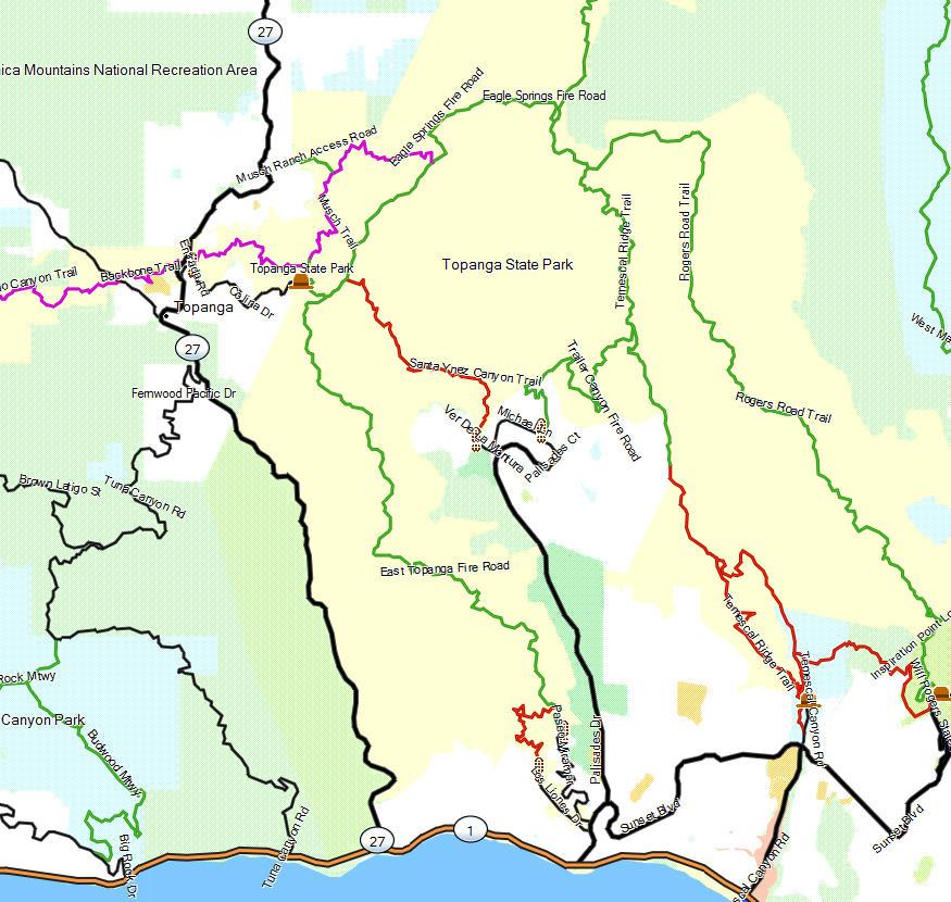 Topanga Sp California Trail Map