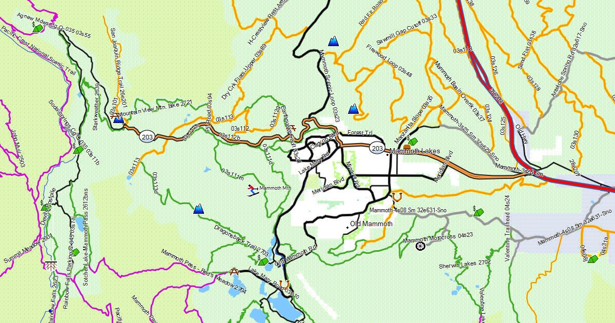 California Trail Map - Mammoth mountain trail map