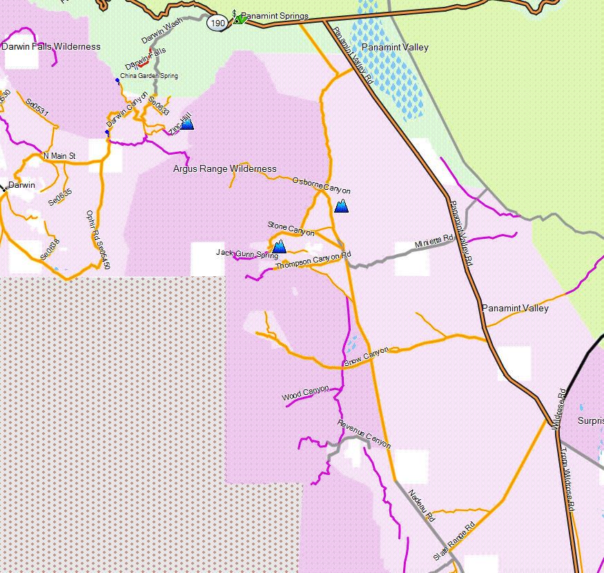 Darwin California Map.Argus Range Wilderness California Trail Map