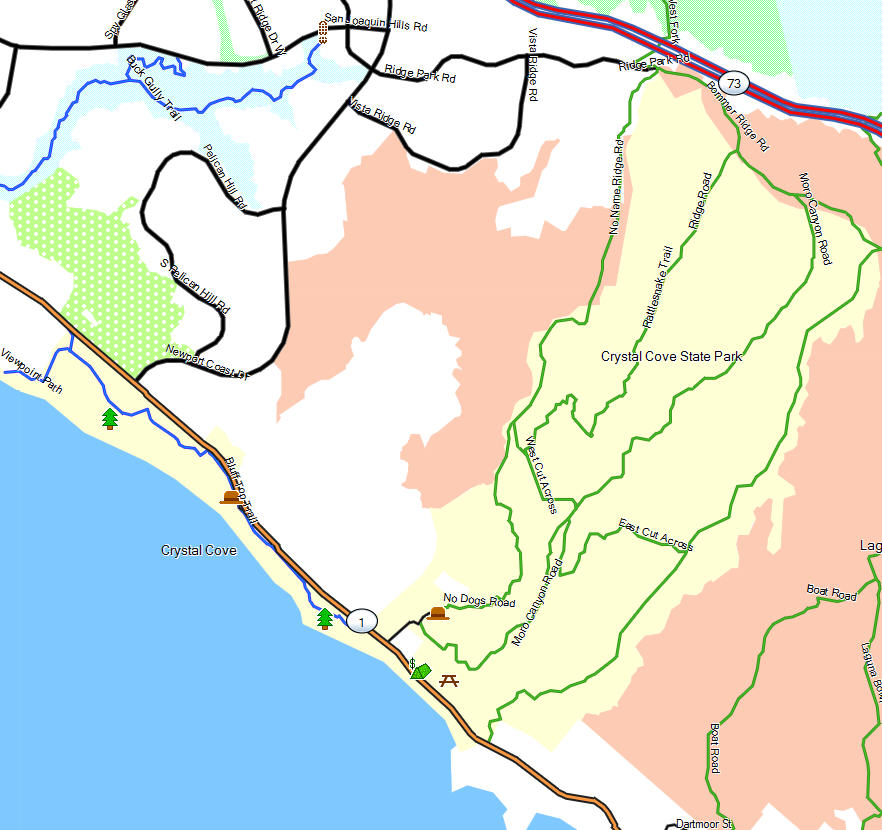 Crystal Cove Sp California Trail Map