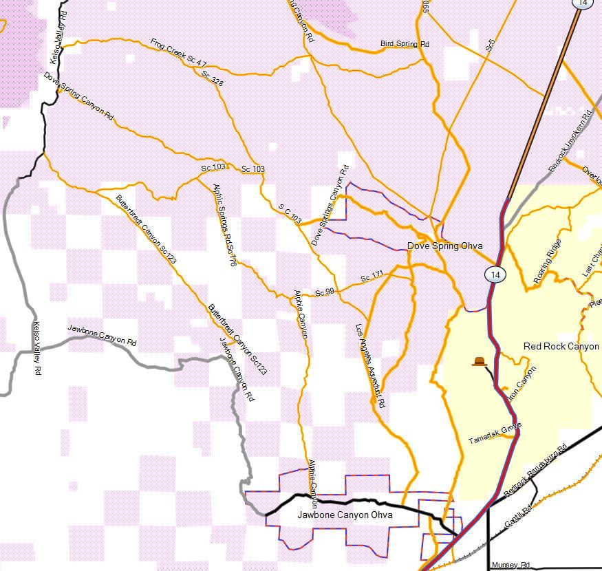 Jawbone Canyon - California Trail Map on my map, uh map, oh map, daylight map, people map, no map,