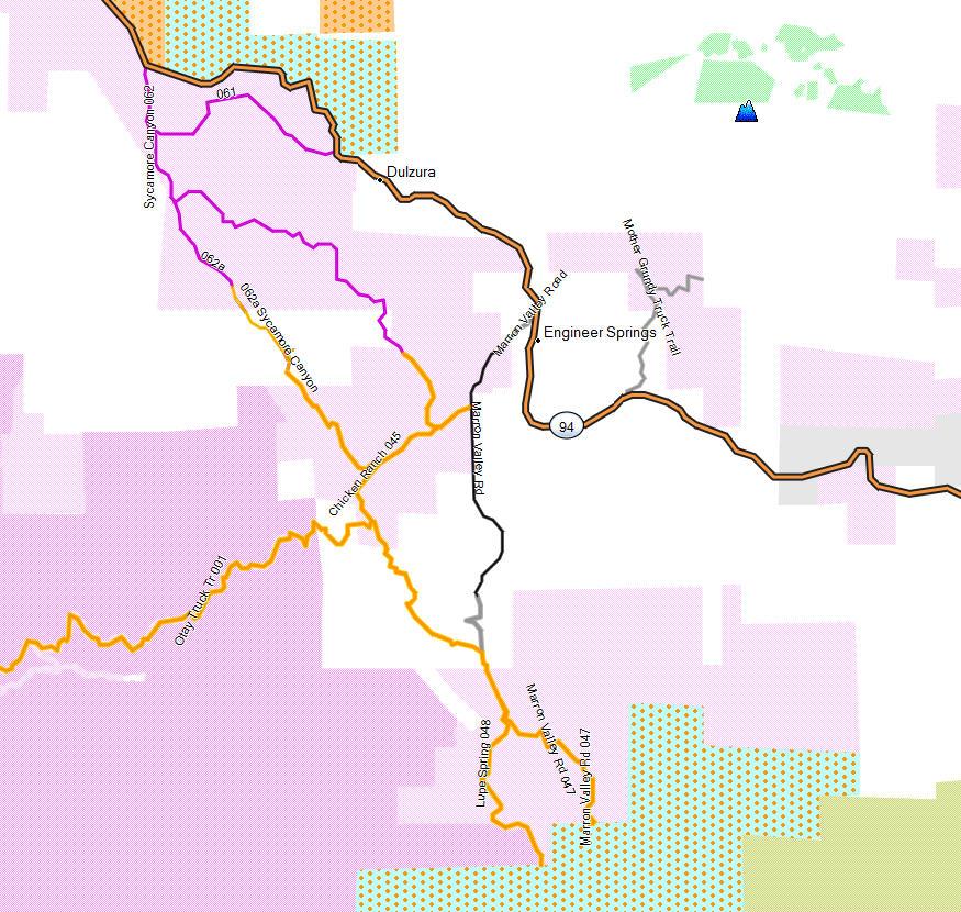 Dulzura Donohoe Mountain California Trail Map