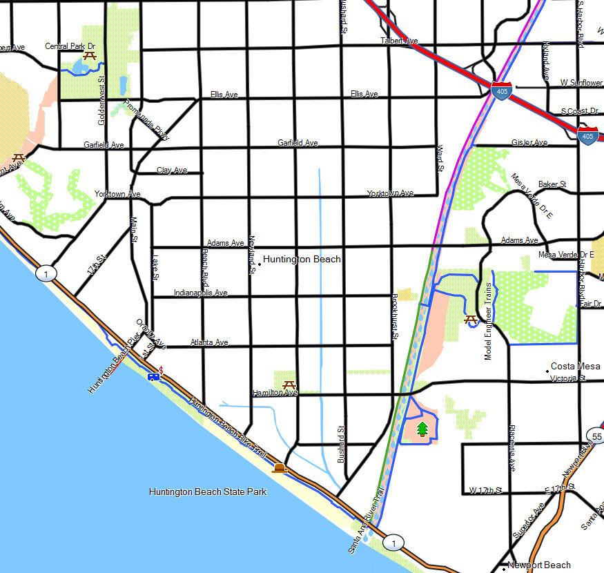 Bolsa Chica Huntington State Beaches California Trail Map