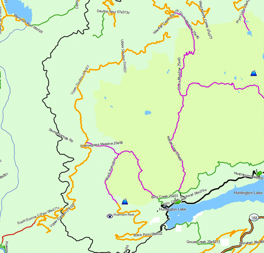 Kaiser Wilderness - California Trail Map on