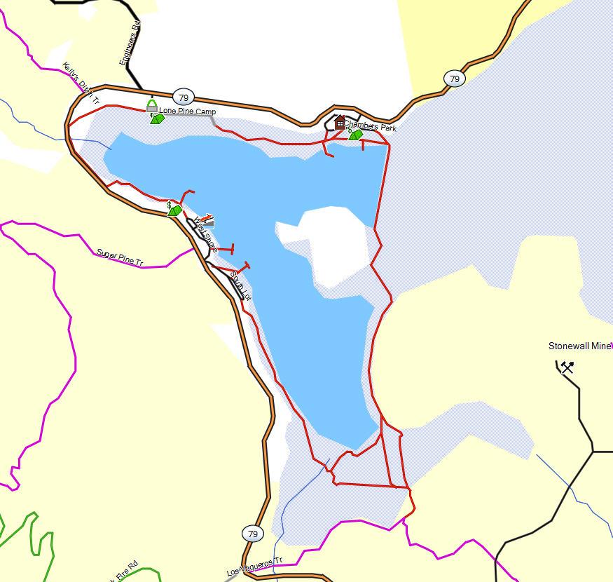 Lake cuyamaca california trail map for Lake cuyamaca fishing