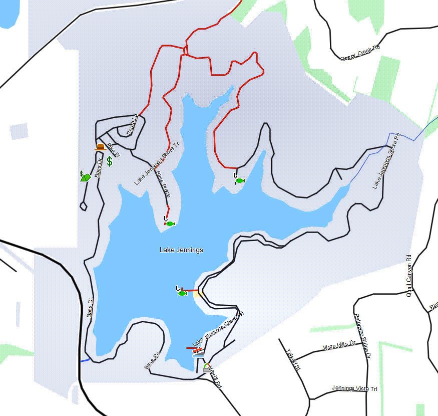 Lake jennings california trail map for Lake jennings fishing