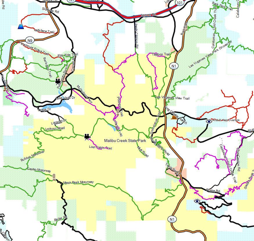 Malibu Creek Sp California Trail Map: Malibu State Park Map At Usa Maps