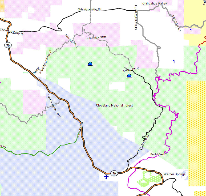 Cleveland NF, Palomar - California Trail Map