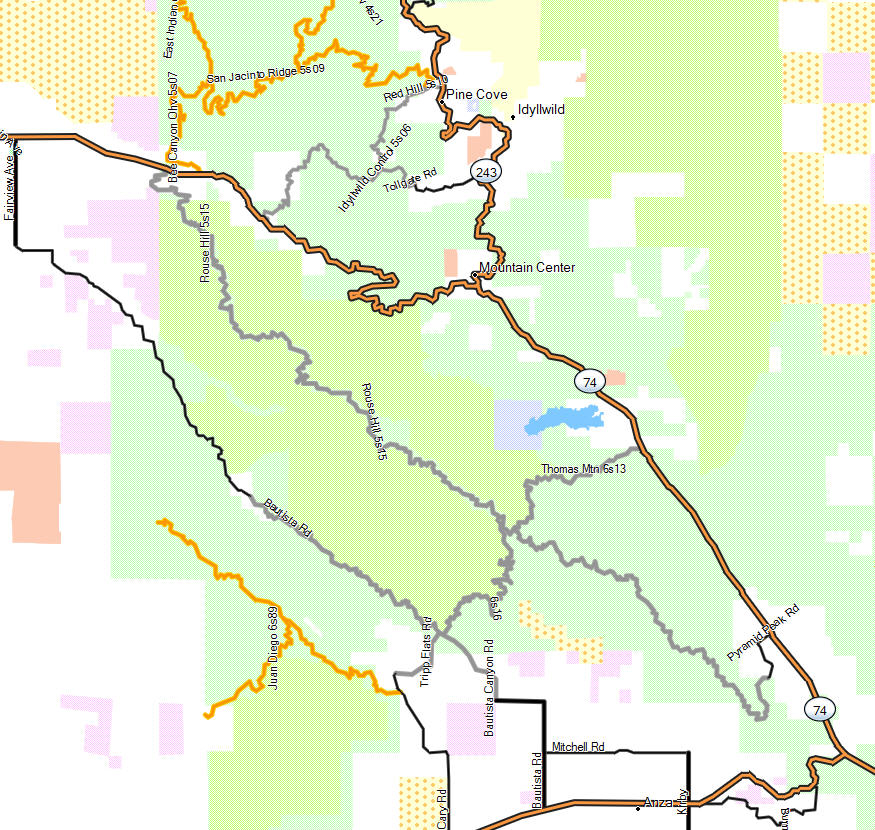 San Jacinto Wilderness California Trail Map