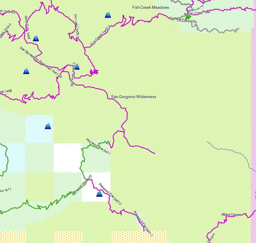 San Gorgonio Wilderness California Trail Map