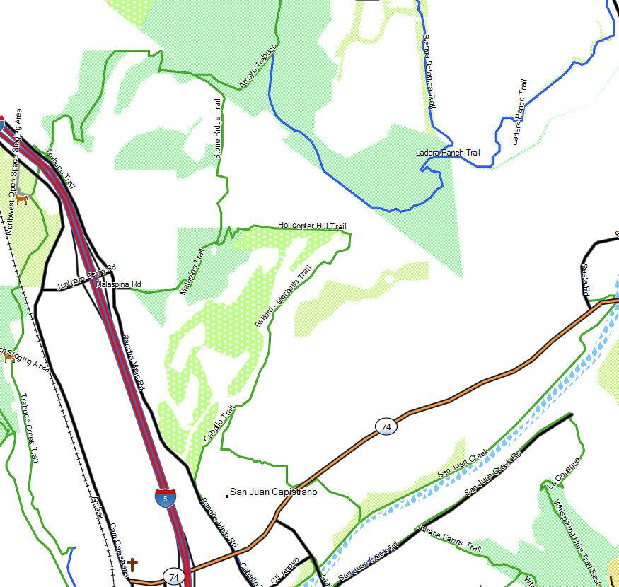 San Juan Capistrano California Trail Map