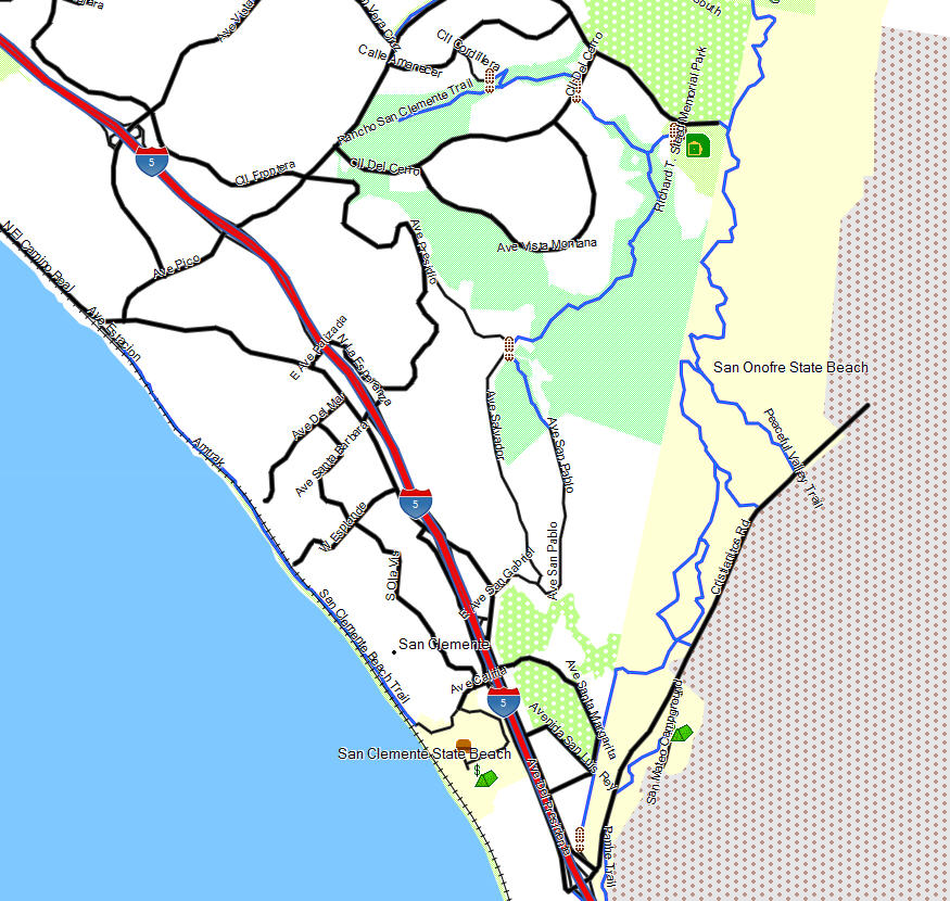 San Clemente State Park Camping: California Trail Map