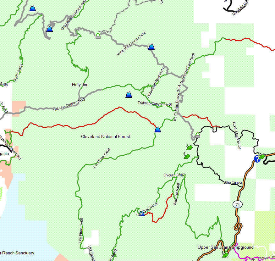 Cleveland NF, Ortega Highway - California Trail Map