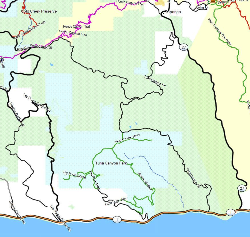 Tuna Canyon Park California Trail Map